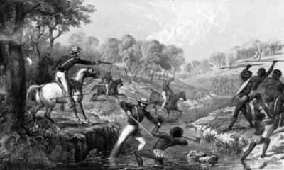 Mounted police attacking Aborigines during the Slaughterhouse Creek Massacre, 1838