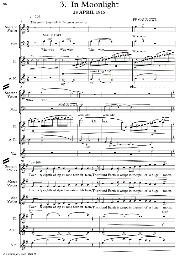 First page of the musical score for <em>In Moonlight</em> from <cite>A Passion for Peace</cite>