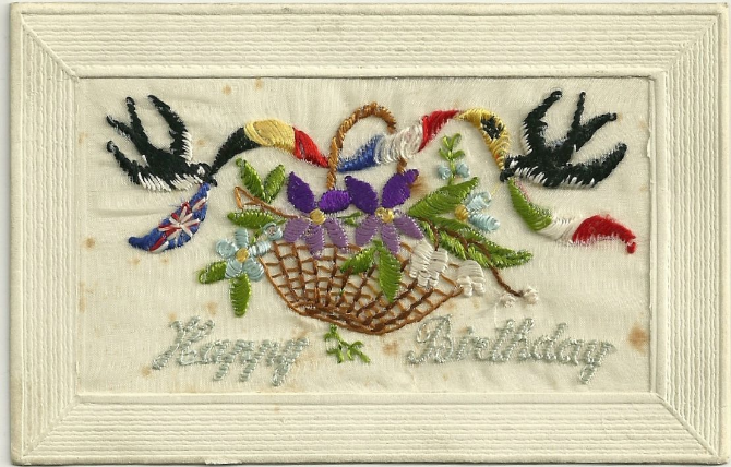 Card 1 – front, embroidered