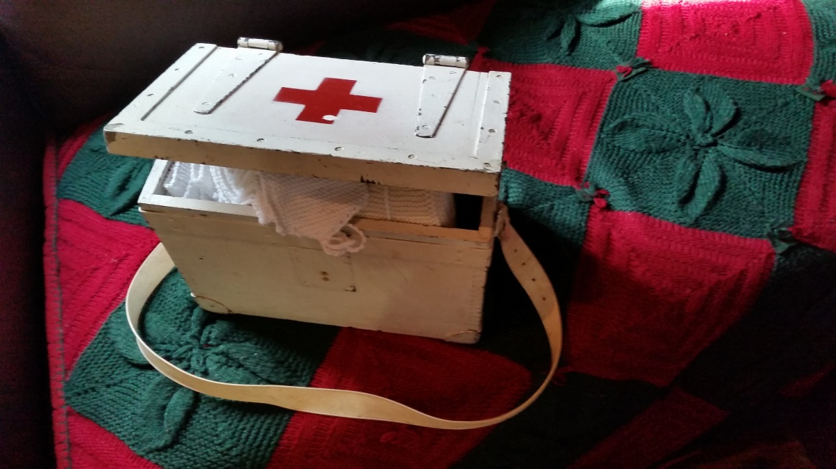 Ammunition box re-purposed as a first aid kit