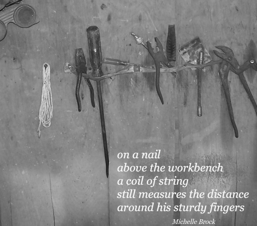 Haiga of tools on wall with some string hanging on a nail: on a nail / above the workbench / a coil of string / still measures the distance / around his sturdy fingers