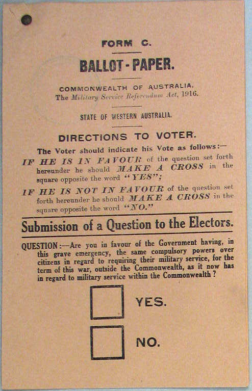 Ballot-paper on conscription, 1916