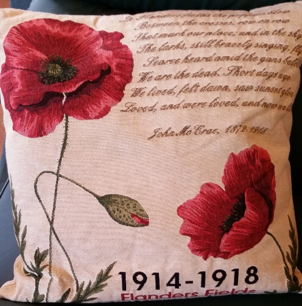 Cushion with Flanders field poem and poppies