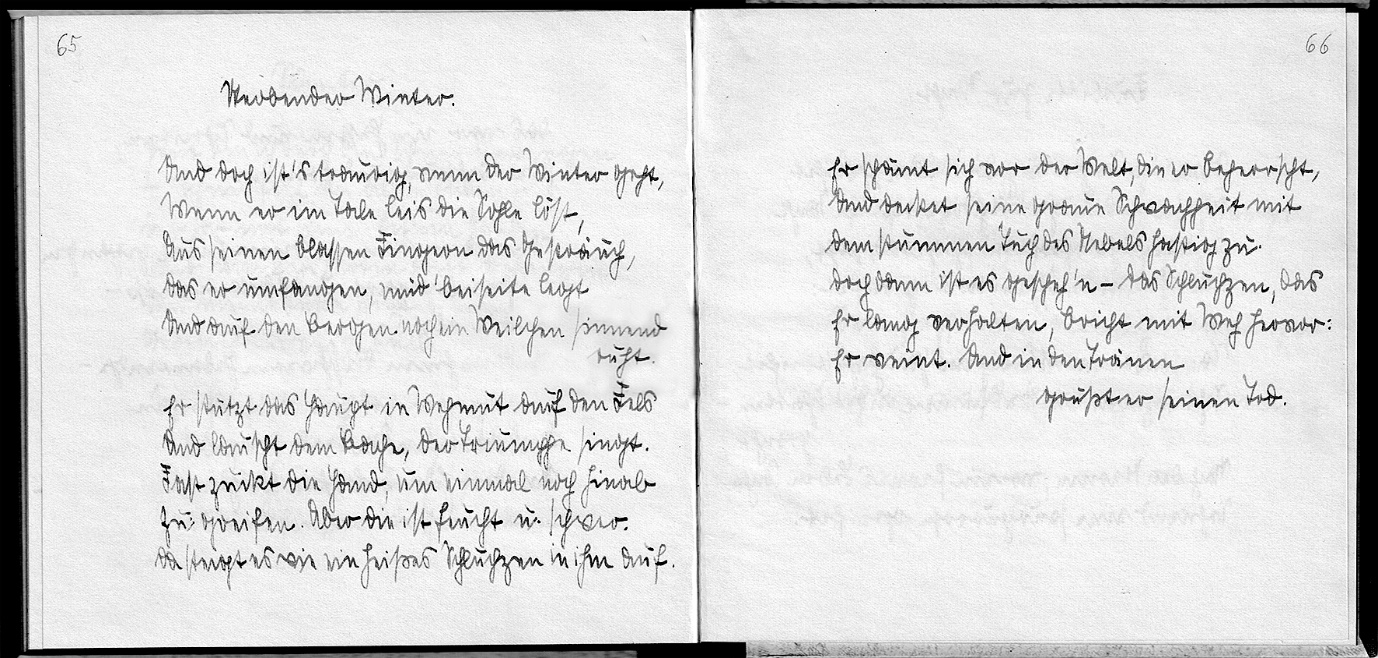 A page from a poem handwritten in gothic script by Otto's daughter, Ursula