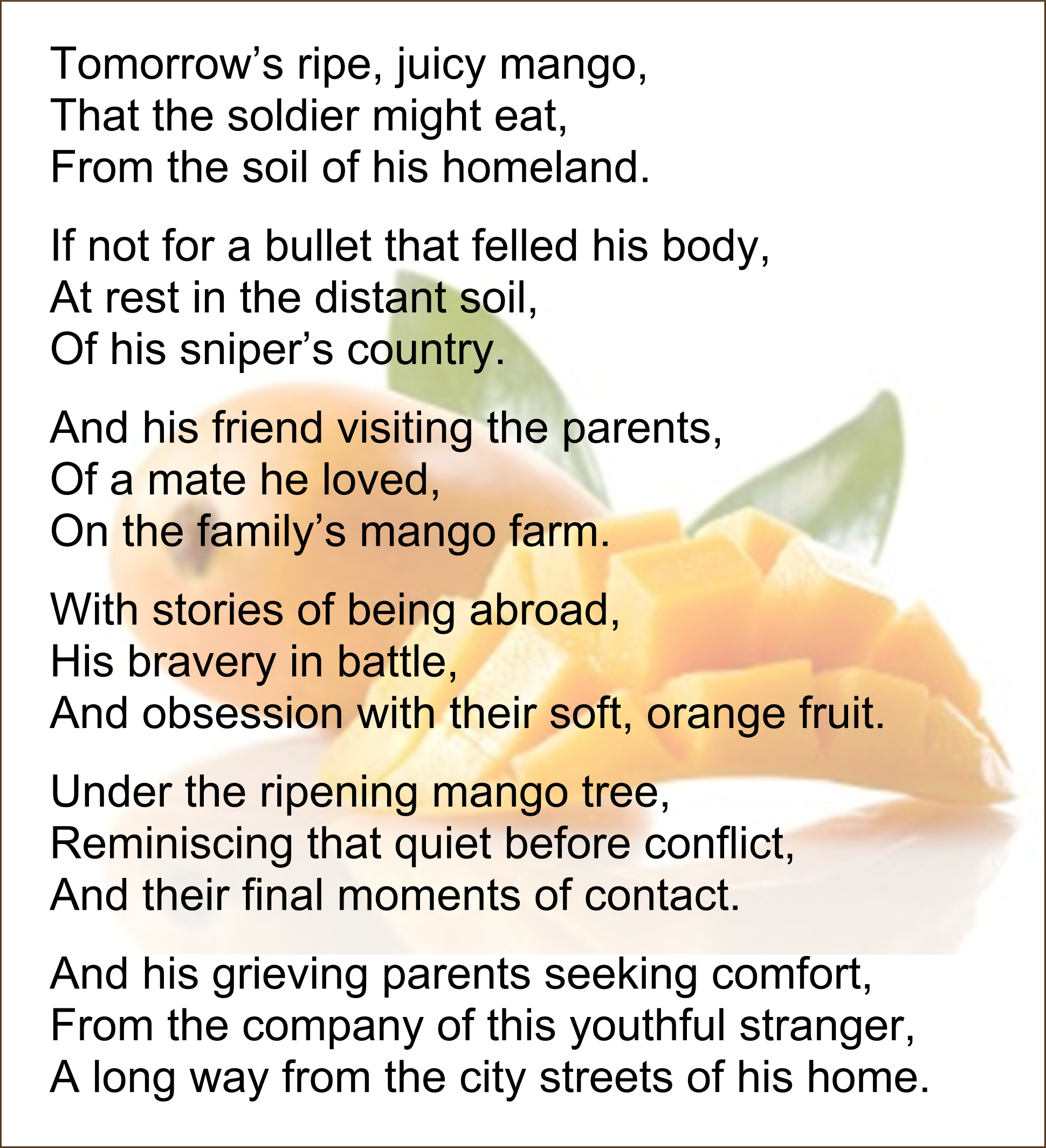Poem over picture of a mango