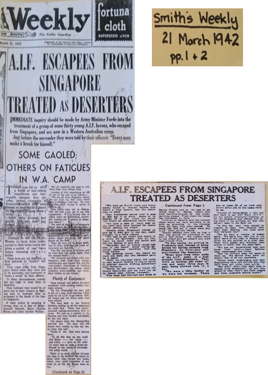 <cite>Smith&rsquo;s Weekly</cite> article from 1942: &ldquo;A.I.F. Escapees from Singapore Treated as Deserters&rdquo;