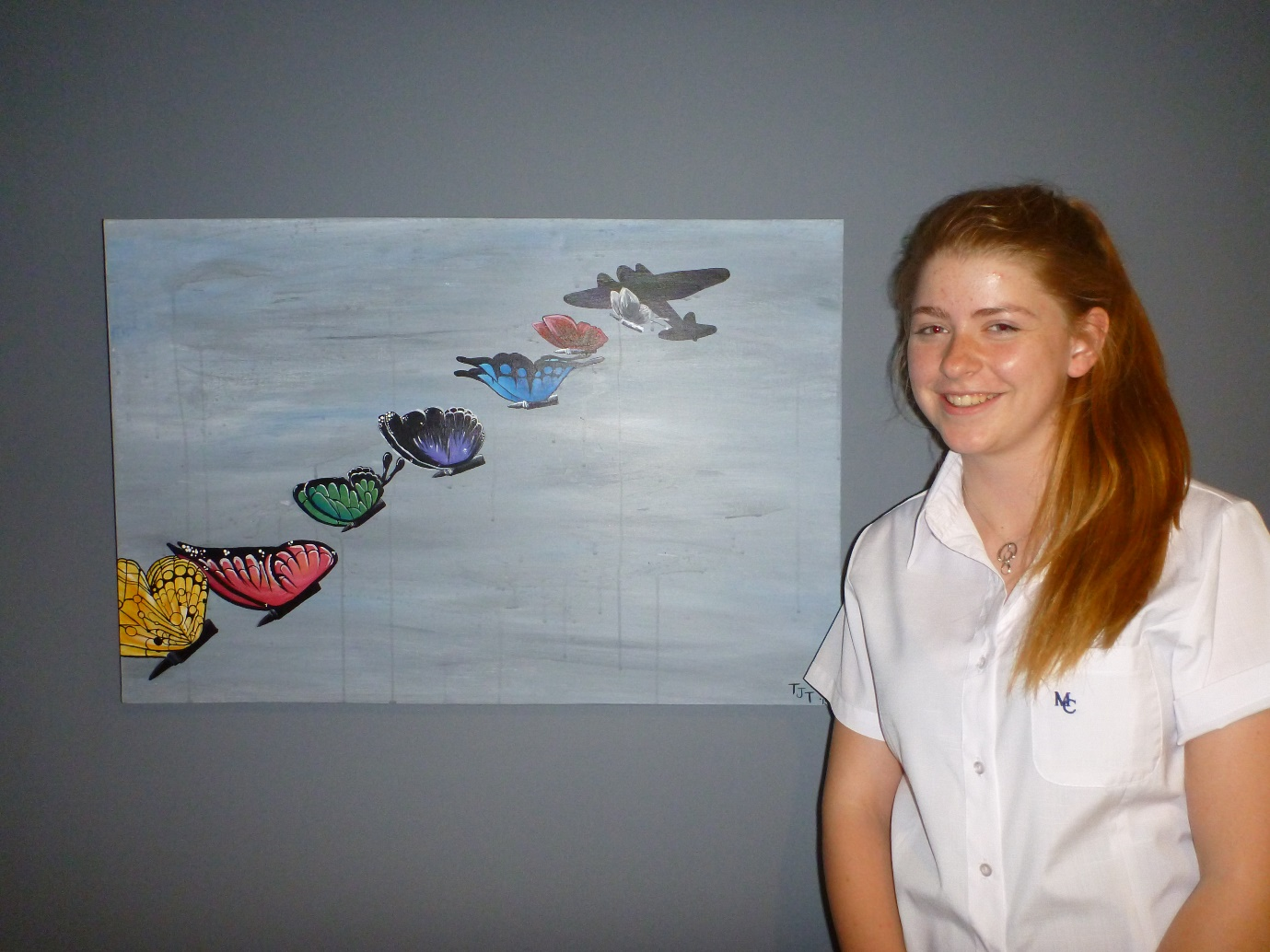 Painting of 'Wings Over War' with artist Talitha Thompson